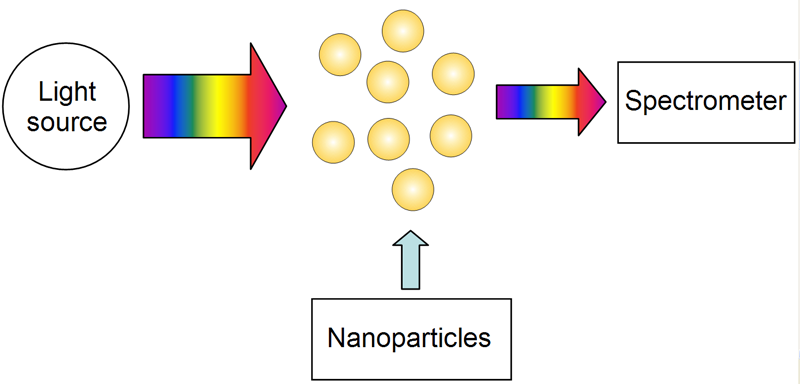 LSPR spectroscopy: measurement of the light extinction spectra of gold nanoparticles.