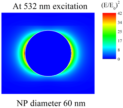 Local electric field enhancement due to LSPR in a spherical gold nanoparticle.